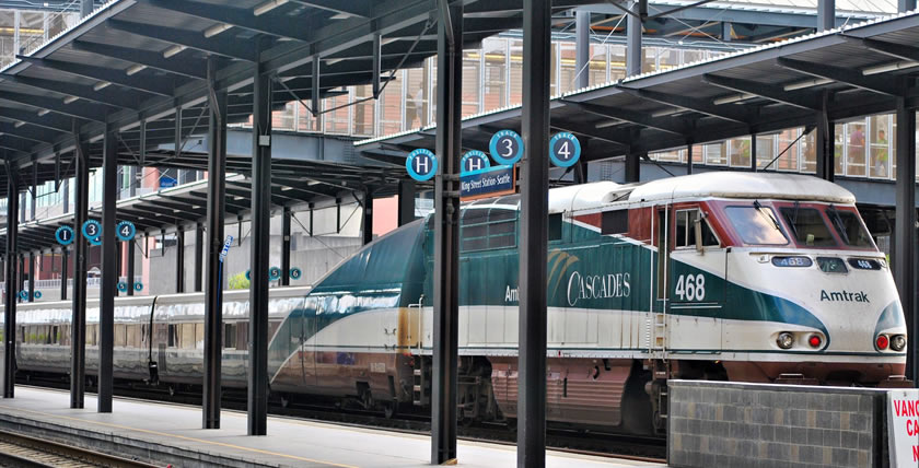 Amtrak Cascades Train at King Street Station - by Loco Steve (CC 3.0)